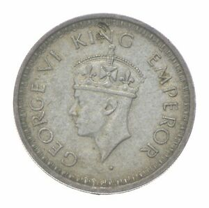 SILVER Roughly the Size of a Quarter 1943 India 1/2 Rupee World Silver Coin *404