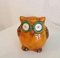 Eule orange / Uhu / Tier Figur / Deko aus Keramik Geschenk