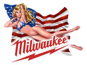 MILWAUKEE TOOLS STICKER DECAL USA SEXY GIRL MECHANIC GLOSSY LABEL TOOL BOX USA