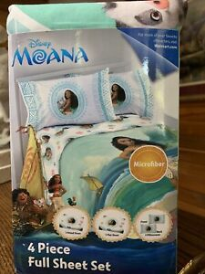 NEW Disney Moana 4 Piece FULL Sheet Set  - SOFT Flat, Fitted & 2 Pillowcases