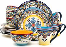 Euro Ceramica Zanzibar Collection 16 Piece Dinnerware Set Kitchen and Dining NEW
