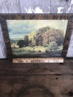 Vintage Art Print Signed Countryside Pasture Cows Grazing Oak Maple Trees