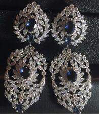 18k White Gold Chandelier Earrings w Swarovski Crystal Sapphire Marquise Stone