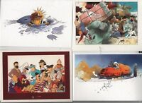 TINTIN - Lot de 4 cartes postales PASTICHE TINTIN par P. SOMON. état neuf