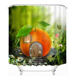 Beautiful Orange Cottage 3D Shower Curtain Polyester Bathroom Decor  Waterproof