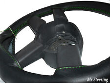 FOR MERCEDES SPRINTER MK1 95-03 BLACK LEATHER STEERING WHEEL COVER GREEN STITCH