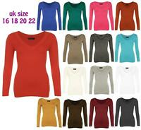 Womens Plain Plus Size V Neck Tops Ladies Long Sleeve Stretchy T Shirt Top