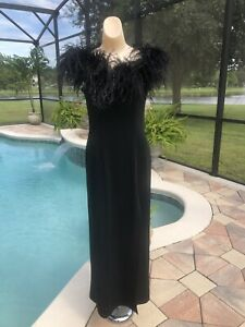 Vintage Bari-jay Ostrich Feather Boa Black Evening Sheath Maxi Dress W/ Slit
