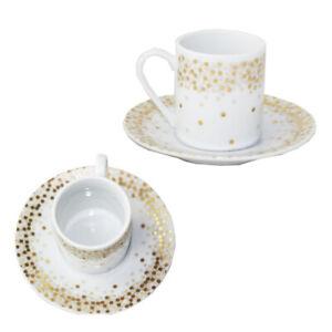 Spotty White & Gold Espresso Cups