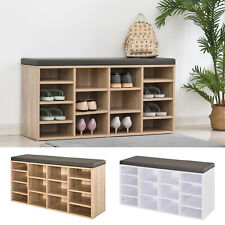 Shoe Storage Rack Cabinet Bench w/ 14 Compartments Cushion Moving Shelves Home