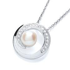J Jaz Phoebe Swarovski plata de ley Perla Círculo collar con colgante 45.7cm