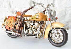Vintage Iron Art Indian Motorcycle Model Crafts Metal Toy Bar Decoration Decor