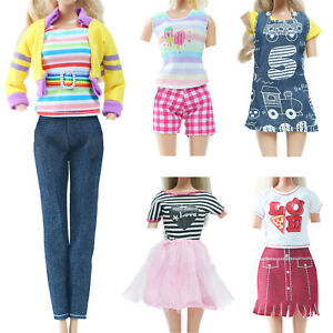 5 Cute Outfit Pants Coat Shorts Shirt Skirt Daily Clothes for 11.5 Inch Doll Toy
