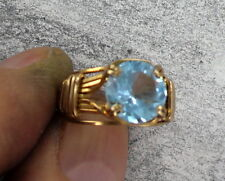 BLUE TOPAZ GEMSTONE  RING  14KT ROLLED GOLD SIZE  5  WIRE WRAPPED