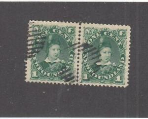 NEWFOUNDLAND # 45 VF-PAIR GRILL CANCELLED 1cts EDWARD