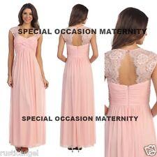 New Long Blush Pink Lace Cutout Back Maternity Dress Gown Chiffon SMALL Special