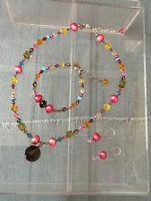 EMILY RAY Necklace w/Pendant, Bracelet & Earrings Swarovski Crystals 925 Silver