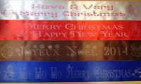 Personalised CHRISTMAS Santa & Elves Sash Ribbon Single or Double Sided Print
