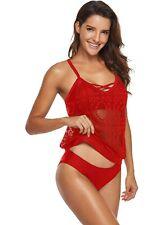 Womens Red Crochet Tankini Bikini Swimsuit Size 14 B81