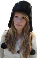 Chapeau noir superbe style trappeur - Taille 57cm (Petit / Moyen)