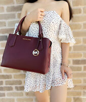 Michael Kors Kimberly Large East West Satchel Merlot Pebbled Leather