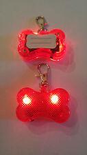 2 pcs Safety Flashing Glow  Light Blinking LED Dog ID Tags Collar Bone Pendant