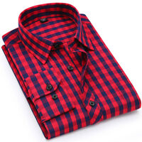 Mens Long Sleeves Shirts Plaids & Checks Formal Bussiness Work Dress Slim ZC6403