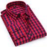 Mens Long Sleeves Shirts Plaids & Checks Formal Bussiness Work Dress Slim ZC6403