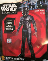 New Star Wars Death Trooper Child Costume Padded Jumpsuit Boot Tops Mask Sz 4-6