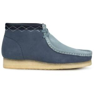 NEW IN BOX! MENS CLARKS Wallabee Classic Boot Blue Combination 26163259 SZ 7-12
