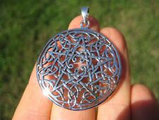 925 sterling Large silver celtic pentagram pendant necklace wicca magic A45