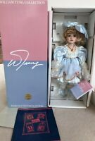 William Tung Collection Handcrafted Porcelain Violet Eyes Blonde Hair Doll Mandy
