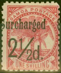 Samoa 1898 2 1/2d on 1s Dull Rose-Carmine SG86 Fine Mtd Mint (18)
