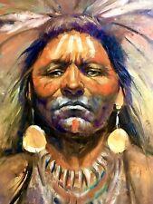 Original Oil Painting INDIAN Western Art Southwest Native American Warriors