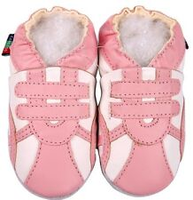 soft sole leather baby shoes sports pink white 0-6m S