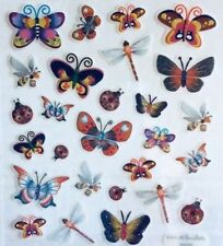 Butterfly Dragonfly Ladybug Insect Glittered Scrapbook Stickers
