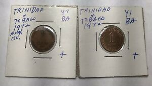 1972 Trinidad & Tobago 1 Cent Coin Lot 2 Type Y1 & 9 Anniversary Birds Wildlife
