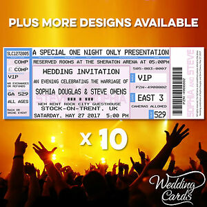 10 Concert Tickets Party Wedding Invites Birthday Cards Save the Date Set Event