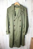 WWII Vintage Army Green Men's Wool Lined (removable) Trench Coat W/Patches M