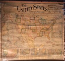 Rare Large 1900 Wall Map The United States and Its New Possessions National Pub