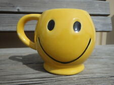 VIntage McCoy Pottery Yellow Smiley Face Coffee Mug Cup Be happy Smile USA made