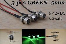 12v led Indicator Lights 3 pcs GREEN Lamp Pilot Dash Directional Car Truck Boat