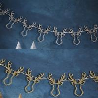 GLITTER STAGS HEAD WOODEN GARLAND - STUNNING CHRISTMAS DECORATION