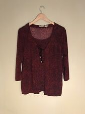 Islander Red/Black Print 3/4 Sleeve Blouse With Tie Neck, Size S