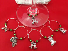 Set of 6 Handmade Christmas Spirit Wine Glass Charms ~ FREE P&P