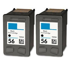 2PK BLACK Printer Ink Cartridge For HP 56 C6656AN Ink
