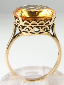 LARGE 9CT GOLD VINTAGE INS GOLDEN CITRINE SINGLE STONE SOLITAIRE RING FREE RESIZ