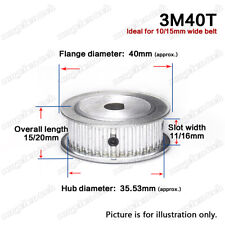3M-40T Timing Belt Drive Pulley Wheel D-shaped Bore 3mm Pitch for 10/15mm Belt
