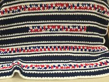 "Handmade Crochet Throw Blanket Red White Blue 42x36"" Baby Crib lap Afghan"