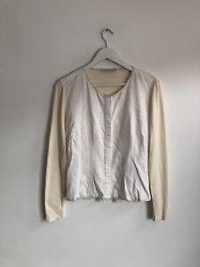 Brunello Cucinelli White Linen Cardigan Top Ribbed Back Size 10 12 Designer